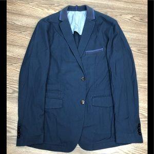 Hugo Boss Navy Blue Slim Fit Knit Blazer 44R